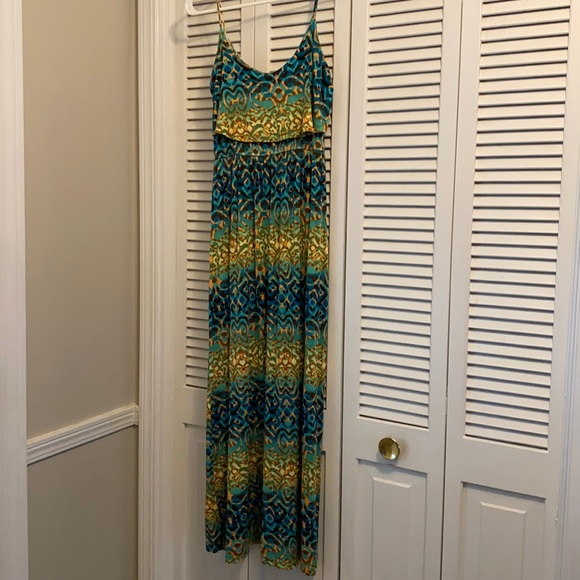 Aggie Aztec Maxi Spaghetti Strap Dress
